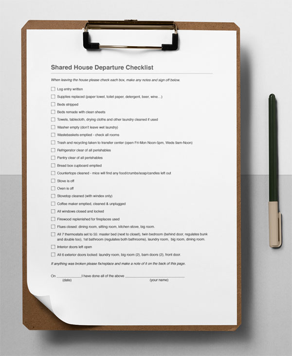 shared property departure checklist clipboard