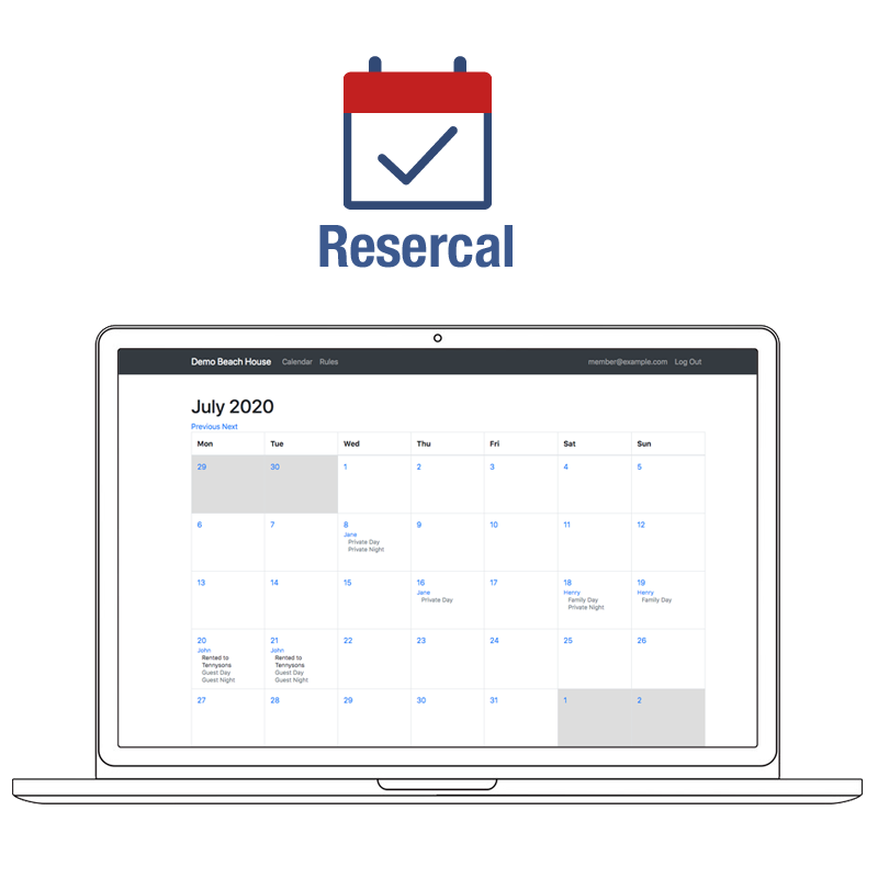 Resercal mulit-user calendar and management app for group scheduling and sharing use of recreational property