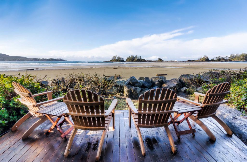 Adirondack chairs at a vacation property