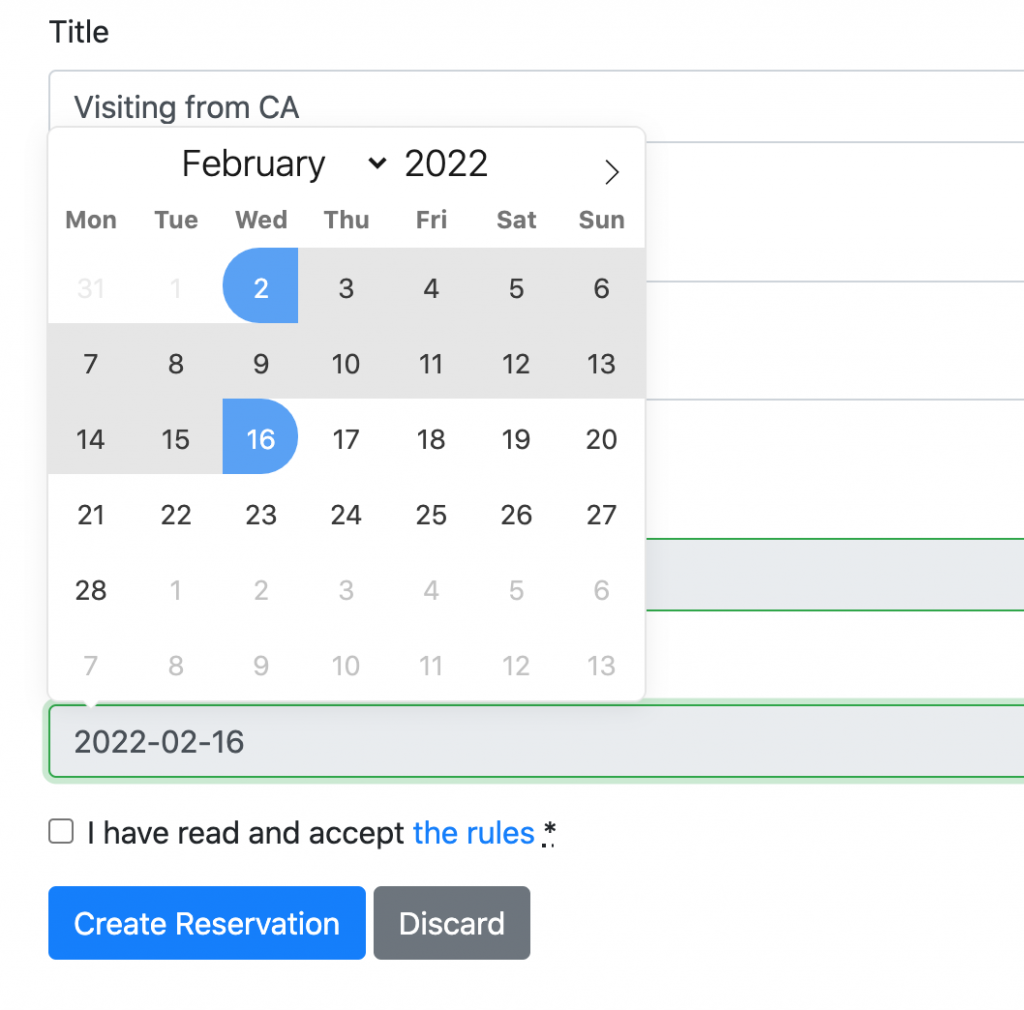 screenshot of datepicker