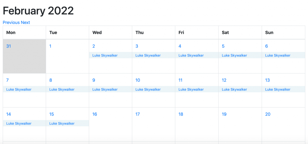 screenshot of dates reserved in the calendar view