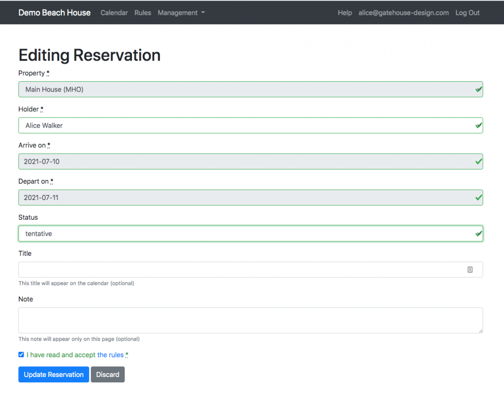 screenshot of app showing tentative/confirmed status reservation page